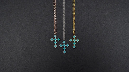 Turquoise enamel cross necklace