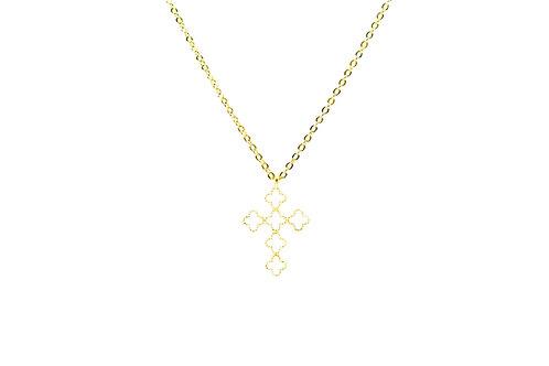 White enamel cross necklace