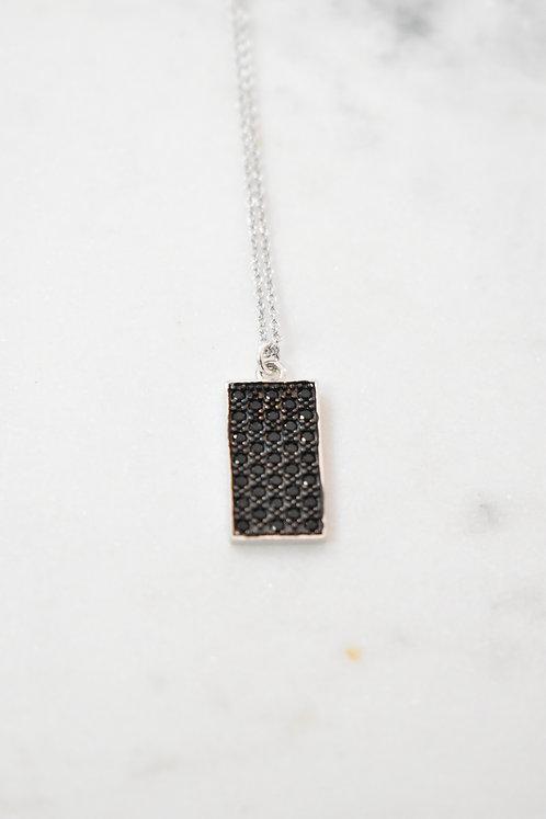 Collier Rectangle oxyde noir