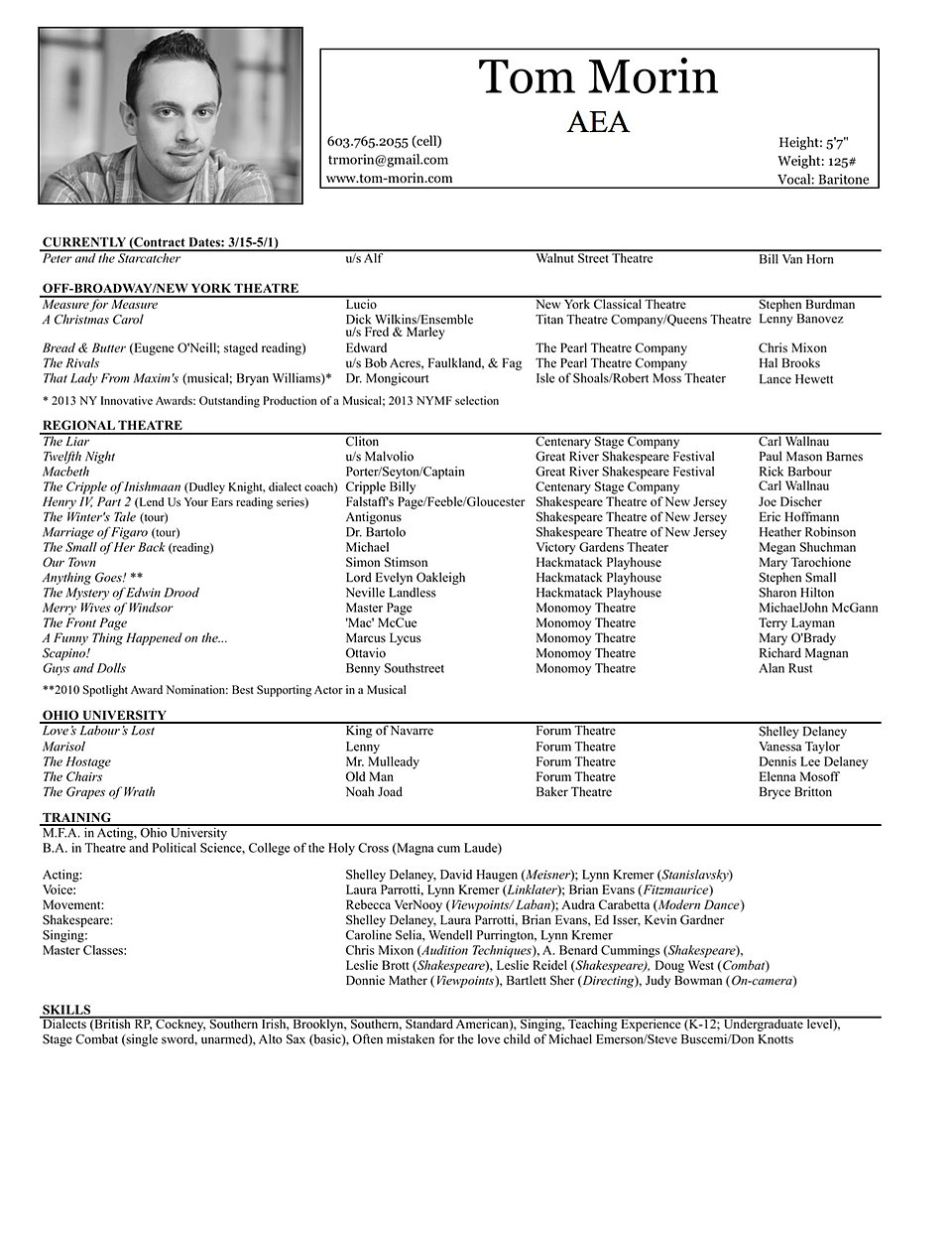 tom morin nyc actor resume tommorin resume