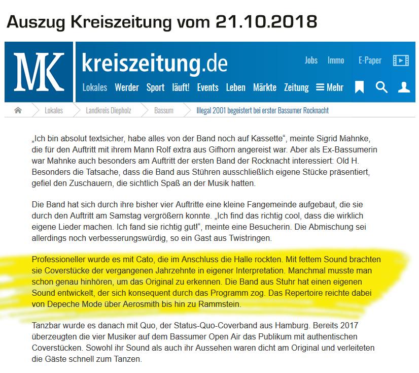 Kreiszeitung Auszug