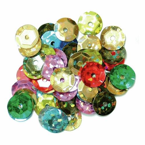 8mm Hologram Cup Sequins Multi Coloured CF01/40907 5g
