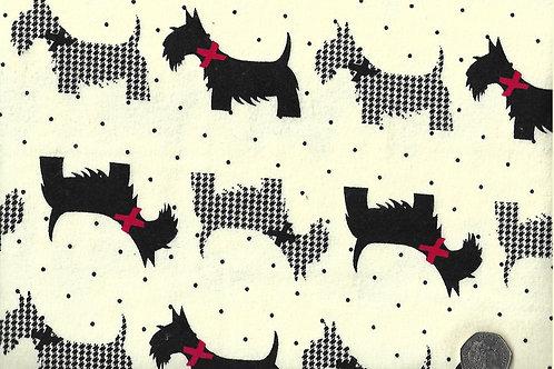 Scottie Dogs on Cream Wincyette F0030