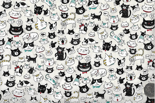 Cats & Cat Heads on White A0729 Nutex 68800 101