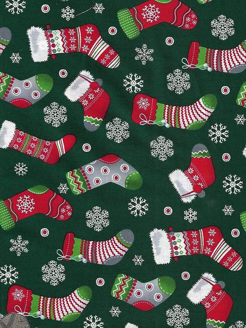 Christmas Stocking on Green C0071