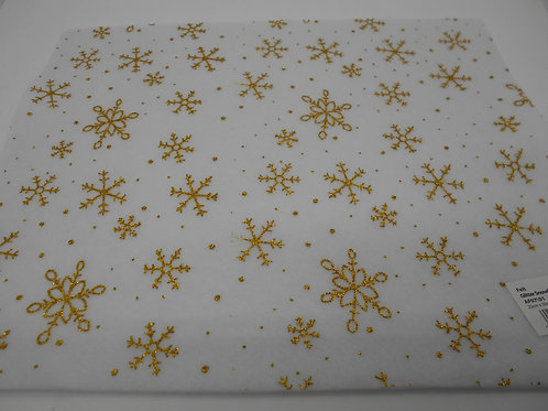 White Felt Square with Gold Snowflakes