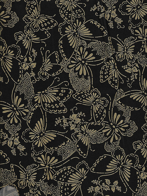 Gold on Black Butterflies 2.8M Wide A0844 Nutex