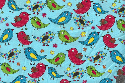 Multicoloured Birds on Blue A0448