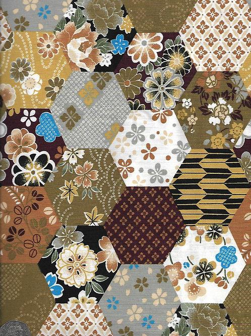 Hexagon Patchwork - Browns A0692 Belleboo
