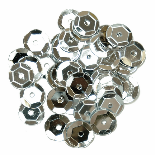 8mm Cup Sequins Silver CF01/40801 5g