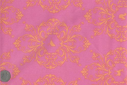 Gold Flora & Fauna on Pink A0154