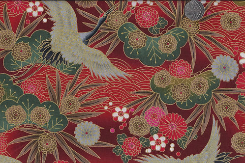 Large Cranes on Red & Gold Nutex A0057