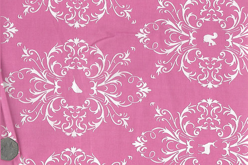 White Flora & Fauna on Pink A0155
