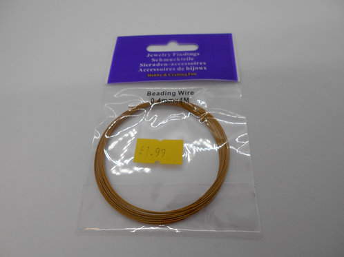 Beading Wire Gold tone 0.4mm x 4m