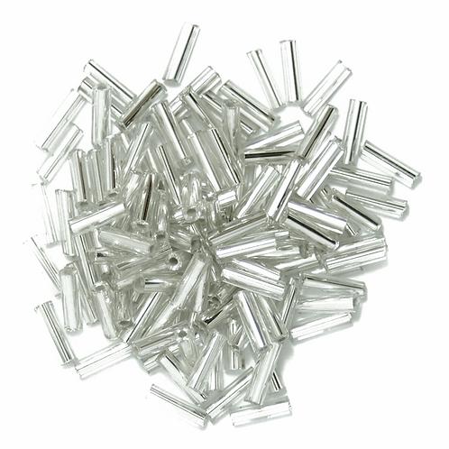 6mm Bugle Beads Silver CF01/05001