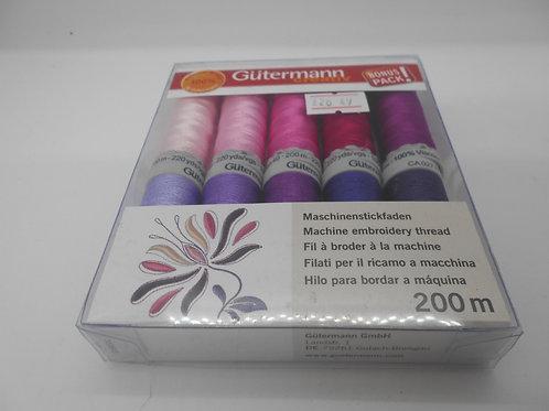 Gutermann 'Pinks & Purples' Machine Embroidery Thread Set