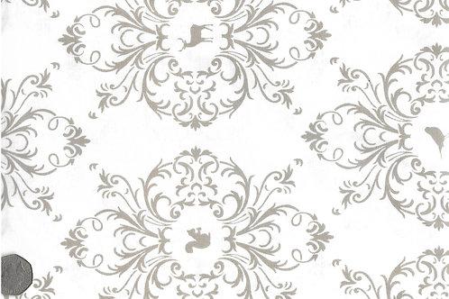Beige Flora & Fauna on White A0152
