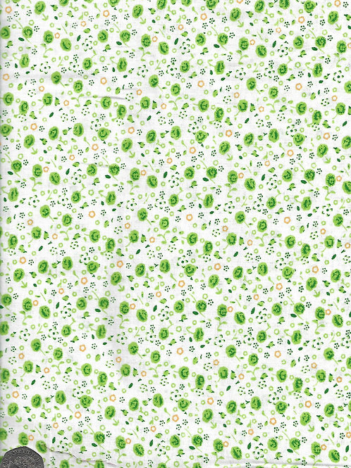 "Green & Yellow Flowers on White A0825 155cm / 61"" wide"