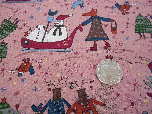 Snowmen & Reindeer on Pink Nutex C0026