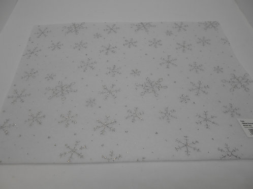 White Felt with Silver Snowflakes H0024