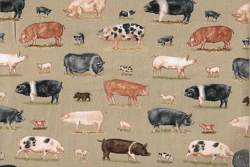 Farm Animals - Pigs on Beige A0643 Makower