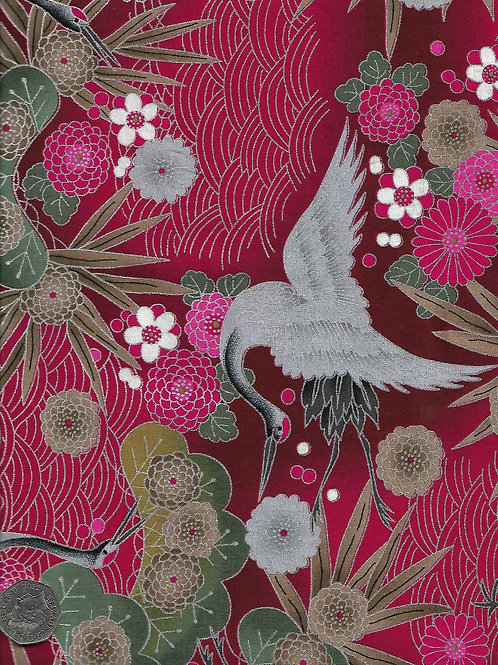 Large Cranes on Red & Silver Nutex A0109