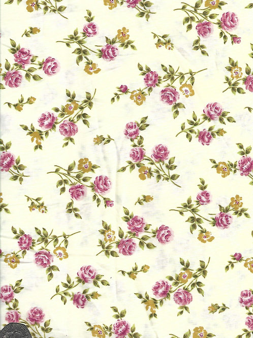 Pink Roses on Cream A0447 Rose & Hubble