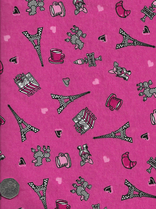 Parisienne Dogs on Pink Wincyette F0031