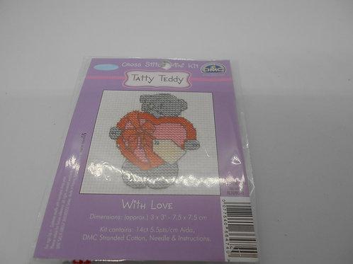 Mini Cross Stitch - Tatty Teddy - With Love