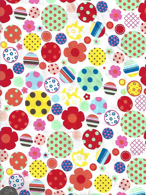 Spots, Dots & Flowers on White A0693