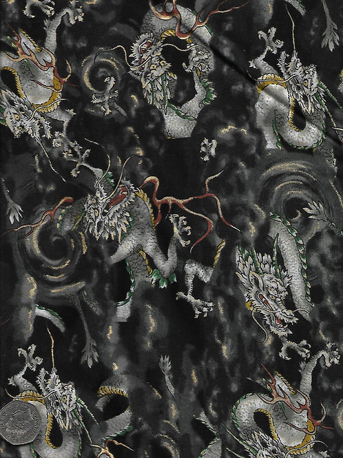 Dragons on Black & Gold Nutex A0298 61180 108