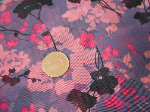 Pink & Purple Flower Viscose D0001