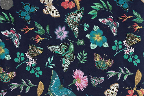 Vibrant Flight - Flowers on Navy Nutex A0008