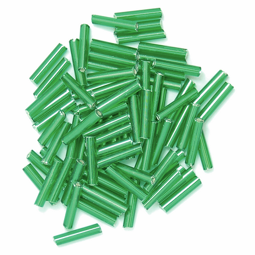 9mm Bugle Beads Green CF01/10004
