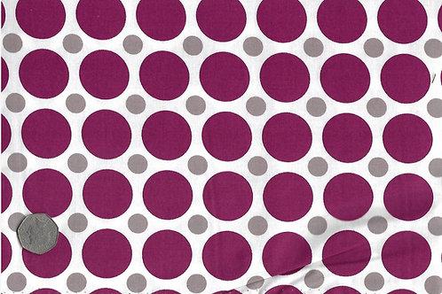 Burgundy & Beige Dots on White A0171