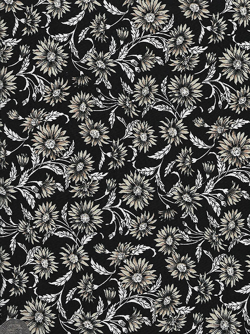 Beige & White Flowers on Black A0646