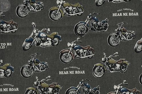 Born To Be Wild - Motor Bikes A0774 Nutex Linen Mix