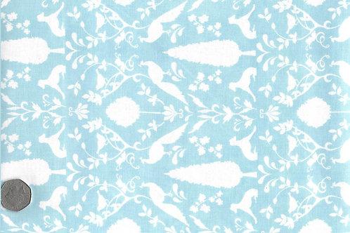 White Peacocks on Blue A0164