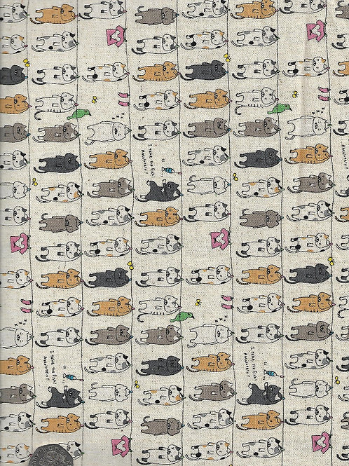 Washing Line Cats on Beige A0730 Nutex