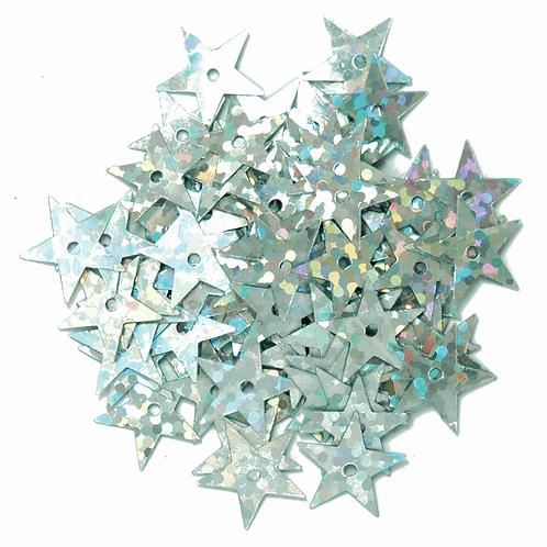 10mm Star Hologram Sequins Silver CF01/01101