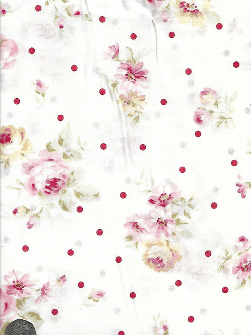 Large Cream & Pink Roses & Dots on Cream A0746 Nutex 21490