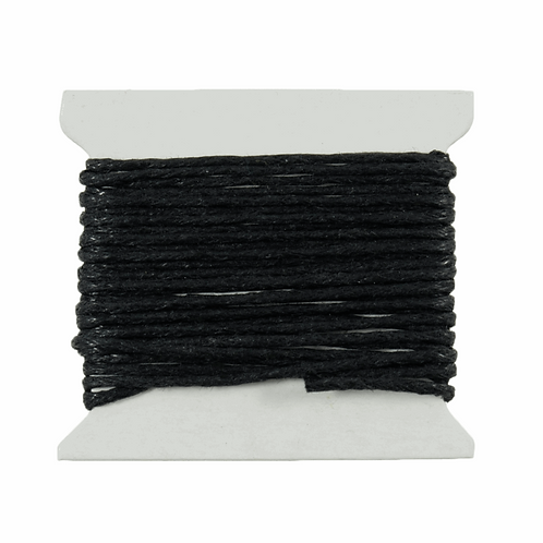 Cotton Waxed Cord Black 2m x 1mm CF01/55606