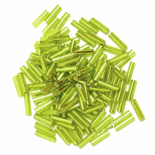 6mm Bugle Beads Lime Green CF01/05028