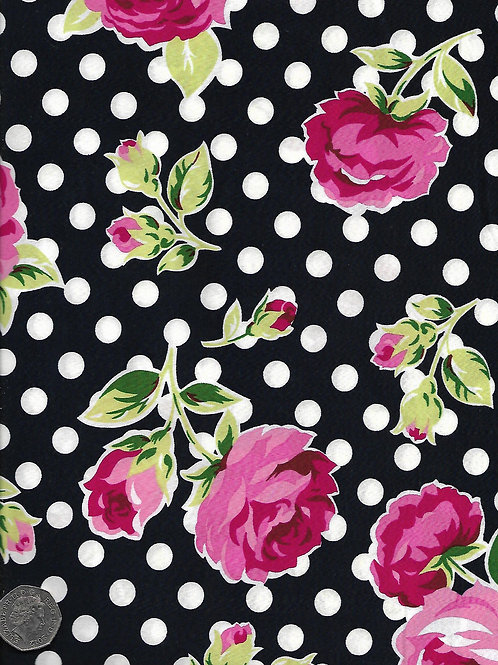 Roses & Dots on Navy A0633