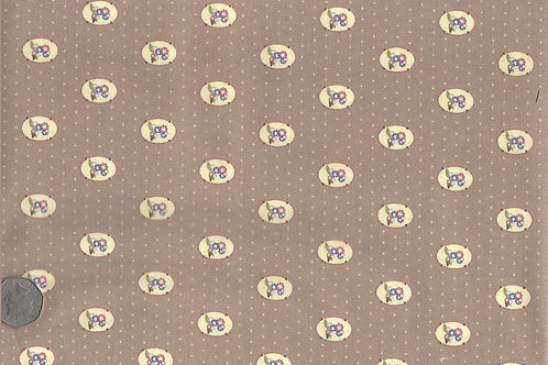 Flower Medallions on Brown A0182