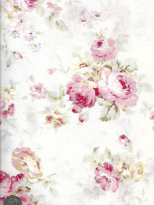 Large Cream & Pink Roses on Cream A0745 Nutex 21490 101