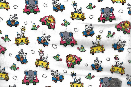Animals in Cars on White Wincyette F0025