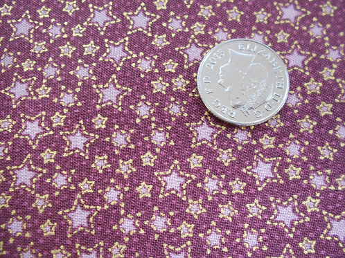 Gold & Rose Stars on Red Nutex C0024