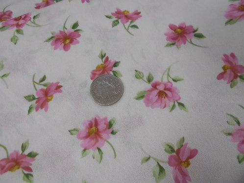 Pink Flowers on Cream Viscose D0007