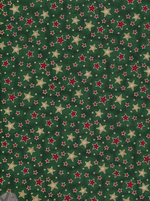 Gold & Red Stars on Green C0072